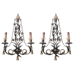 Pair of Italian Two-Light Sconces Green Painted and Gilt Iron Banci Firenze 1980