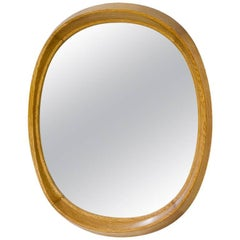 Scandinavian Modern Oval Oak Mirror by Fröseke, Sweden