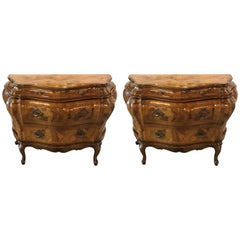 Pair of Italian Olive Wood Commodes
