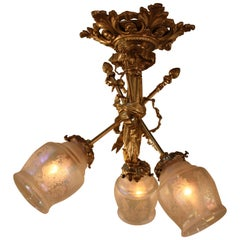 French Empire Style Bronze Semi Flush Mount Chandelier