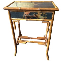 Little Bamboo Table with Lacquer, circa 1890