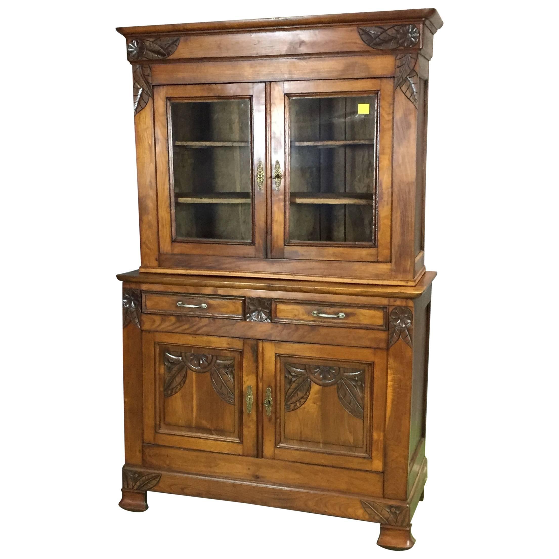 1930s Art Deco Chestnut Rustic Kitchen Buffet For Sale
