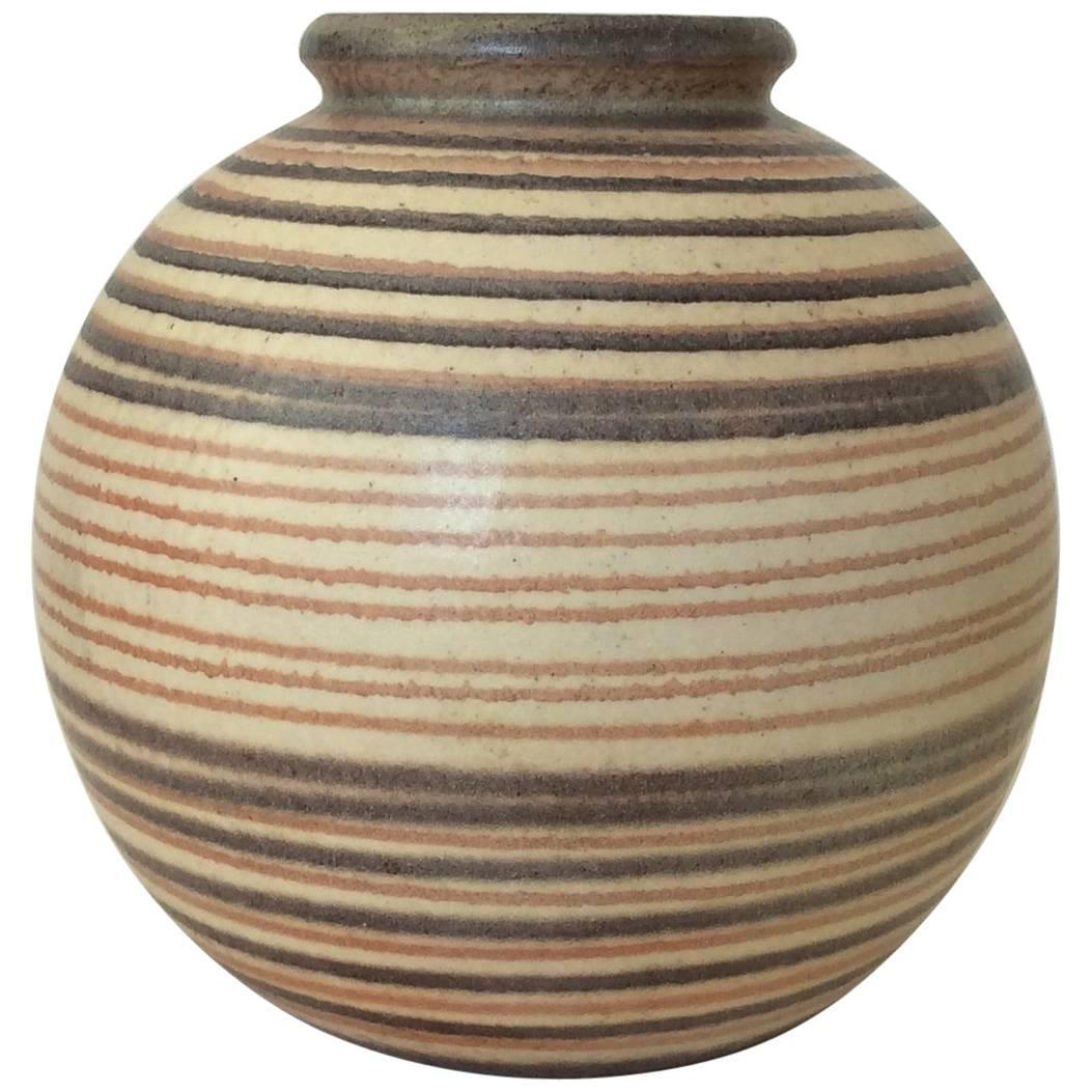 Ceramic Striped Ball Vase, circa 1930.