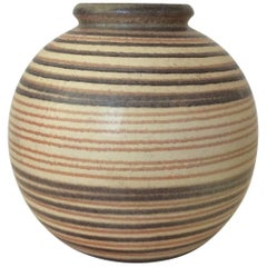 Ceramic Striped Ball Vase, circa 1930, France
