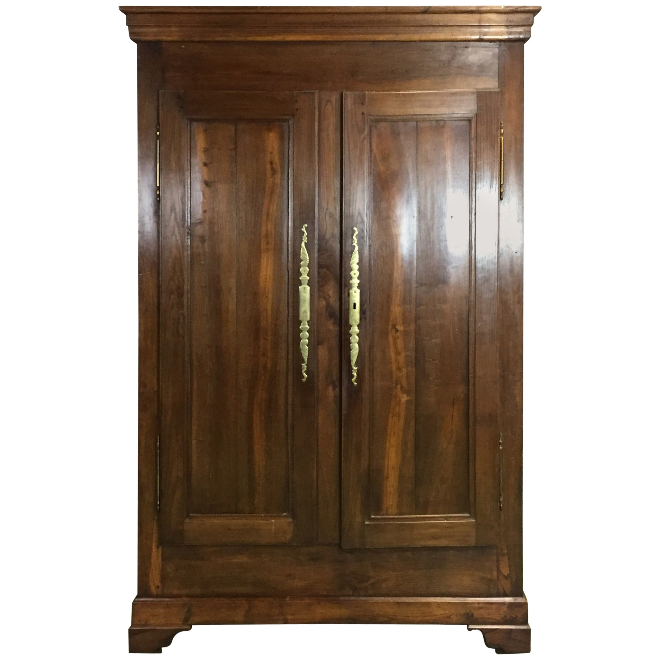 Antique Single Wardrobe Victorian 19Th Century Satin Walnut Mirror At