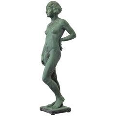 Harriet Whitney Frishmuth Style Art Deco Bronze Nude Garden Statue, 1930s