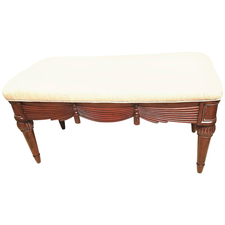 Carved Tassel and Swag Mahogany Bench