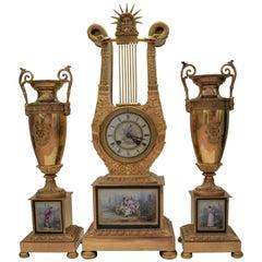 French Mantel Clock Set, Gilt Bronze and Sèvres Porcelain Panels, Empire Style