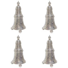 Set of Four Bell Sterling Silver Salts Salters England, Circa 1928