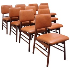 Set of Ten Walnut and Leather Dining Chairs by Greta Grossman