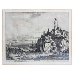"17th Century Jan Van De Velde Print ""October"" from the Months, 1618"