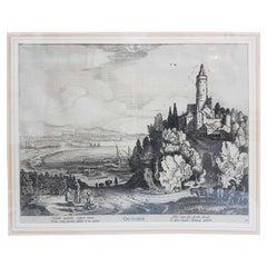 """17th Century Jan Van De Velde Print """"October"""" from the Months, 1618"""