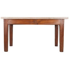 French 19th Century Pine Table with Thick Stone Top