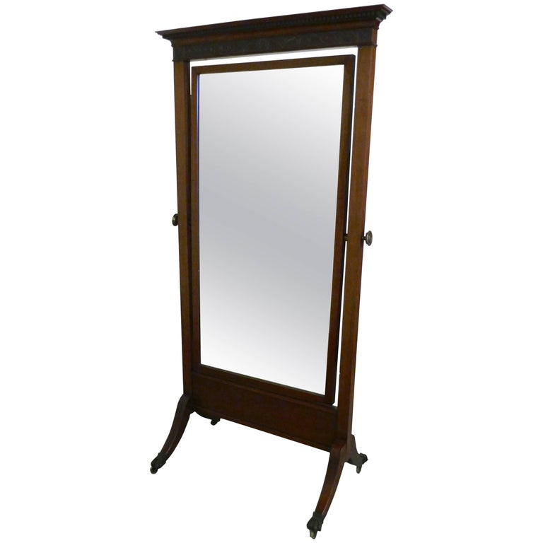 Large Victorian Mahogany Cheval Mirror