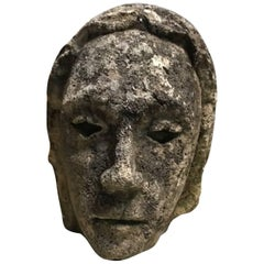 French 17th Century Stone Head of a Cardinal