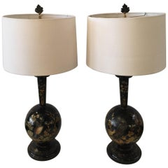 Pair of Antique Hand Painted Tole Lamps