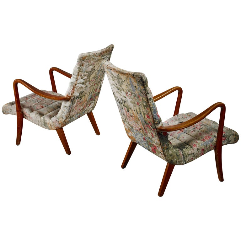 Pair of Axel Larsson Lounge Chairs, Bodafors, Sweden, 1940s
