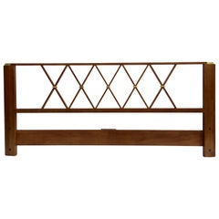 Paul Frankl King-Size Walnut and Brass Headboard