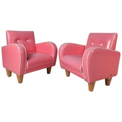 Pair of Children's Contemporary Modern Pink Lounge Chairs