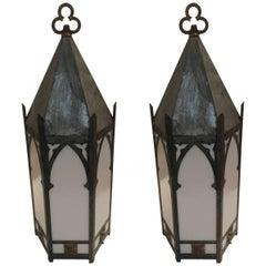 Monumental Pair of Super Sized Galvanized Metal Lanterns
