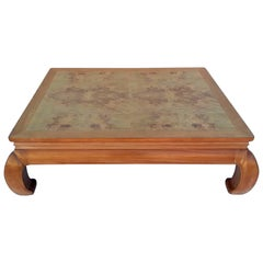 Henredon Ming Style Coffee Table with Burl Wood Top