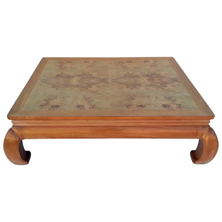 Light Colored Wood Coffee Table.Henredon Ming Style Coffee Table With Burl Wood Top