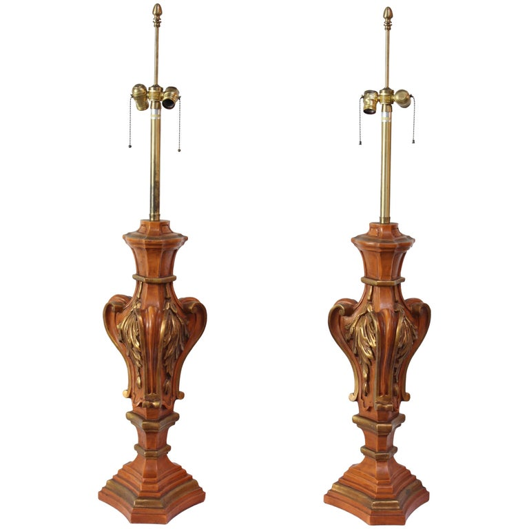 Pair of Oversized Hollywood Regency Carved and Gilded Table Lamps by Marbro