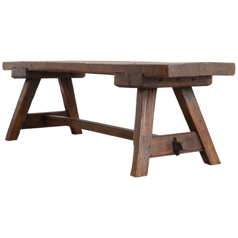 English Early 18th Century Thick Oak Bench