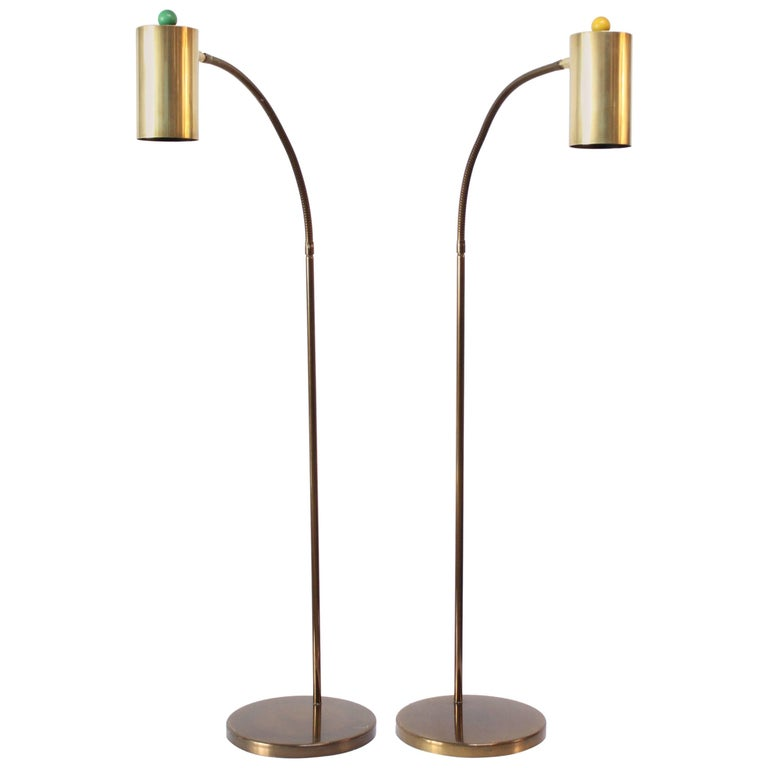 Pair of Brass Gooseneck Floor Lamps by Koch and Lowy