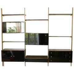 Lacquer and Brass Shelves Roche Bobois, 1970s