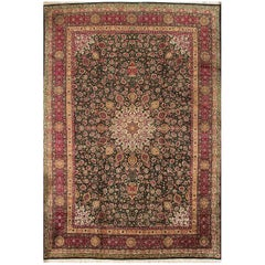 Antique Oversize Red and Green Fine Persian Tabriz Rug
