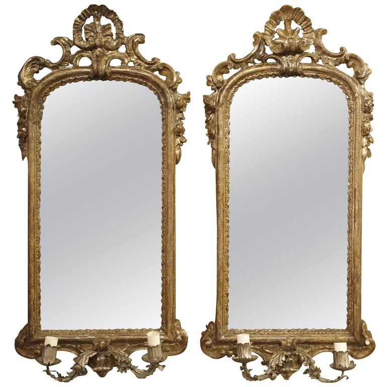 Pair of Antique Mirror Wall Sconces from Italy, circa 1740