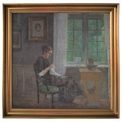Interior with Sewing Woman by the Window, Niels Holsøe, circa 1920