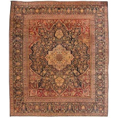 Antique Rust and Blue Persian Distress Floral Medallion Carpet