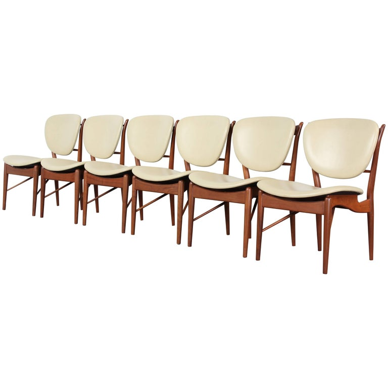 Set of Six Teak Finn Juhl NV-51 Dining Chairs for Baker Furniture Company, 1960s