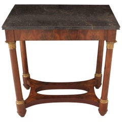 French Empire Style Mahogany Table with Marble Top
