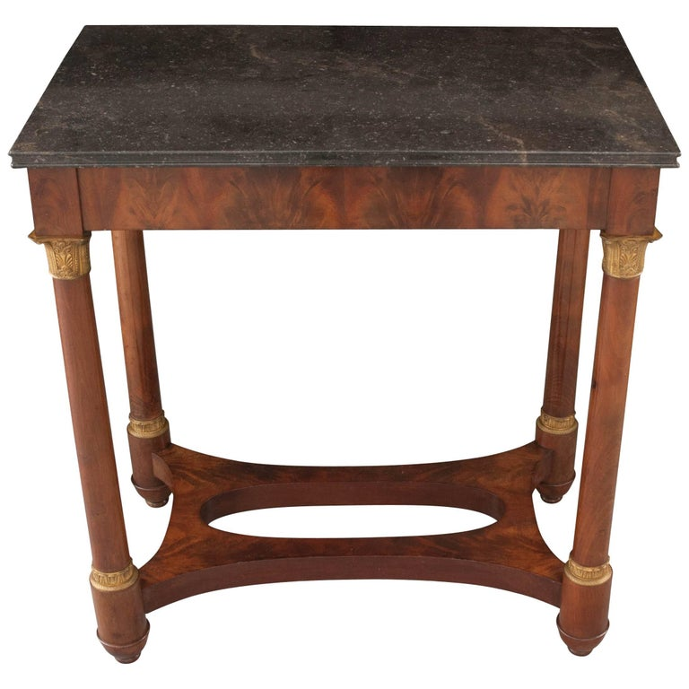 French Empire Style Mahogany Table with Marble Top For Sale