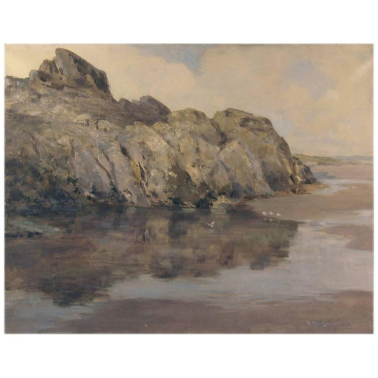 Rocky Seascape by Harry Macgregor Signed & Dated 1927 For Sale