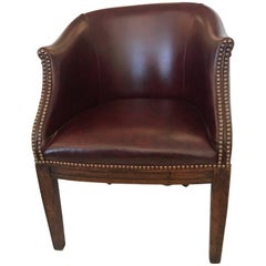 Masculine Antique English Barrel Back Leather Tub Chair