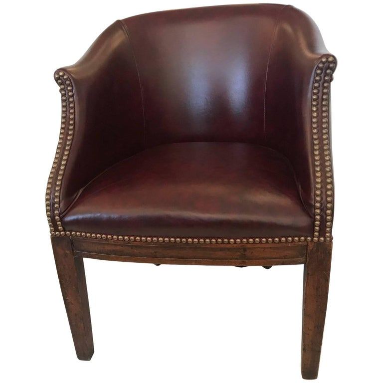 Masculine Antique English Barrel Back Leather Tub Chair For Sale - Masculine Antique English Barrel Back Leather Tub Chair For Sale At