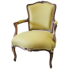 19th Century Louis XV Style Fauteuil in Chartreuse Linen