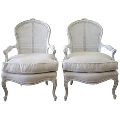 Pair of Midcentury Painted Cane French Style Chairs