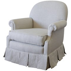 Vintage Chair with Custom Upholstered Linen Box Pleated Ruffle Skirt