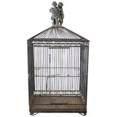 Large Antique Iron Bird Cage
