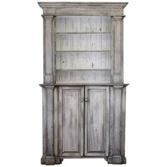 Antique Primitive Style 2 Part Display Cabinet