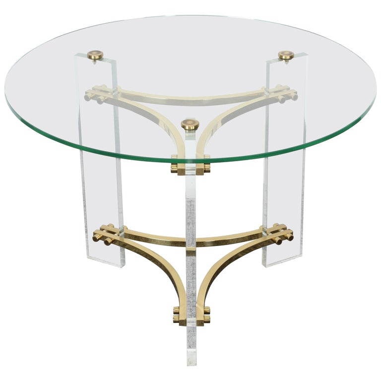 Charles Hollis Jones Lucite and Brass Side Table, 1970s