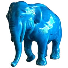 Vintage Blue Ceramic Elephant by Sevres of France
