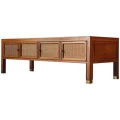 Drexel Walnut and Cane Coffee Table or Cabinet