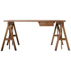 Vintage Oak Adjustable Drafting Work Table Desk with Sawhorse Base