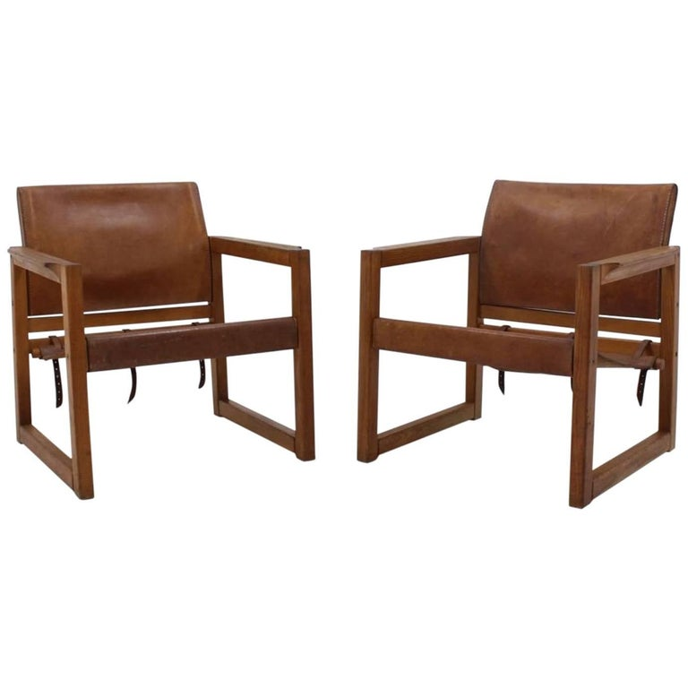 Pair of Midcentury Leather Safari Chairs Designed by Karin Mobring, 1970s